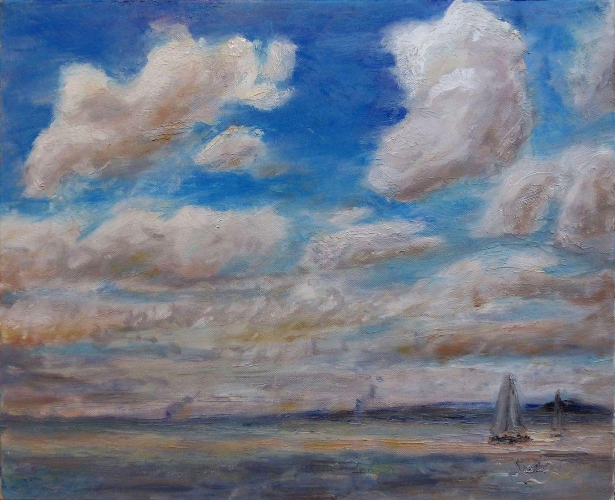 Paysage Marin Avec Un Grand Ciel Peinture De Serge Boisse