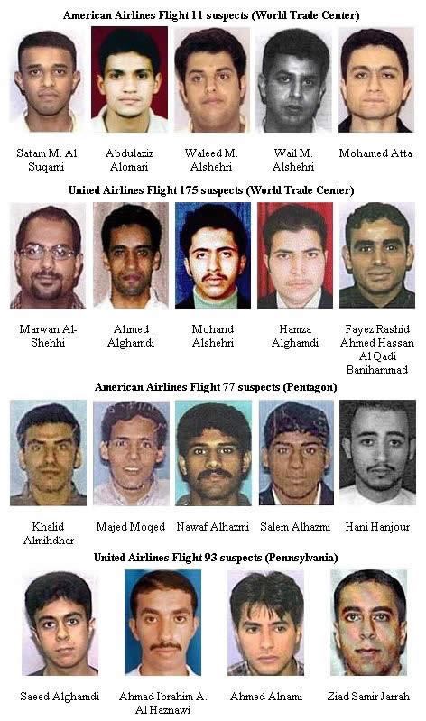les terroristes présumés du 11 Septembre 2001